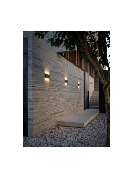 Outdoor LED wandlamp Kinver, Lamp: gecoat aluminium, Diffuser: glas, Zwart, 26 x 9 cm