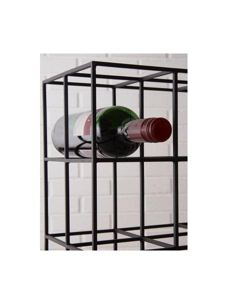 Wijnrek Vinnie in zwart voor 9 flessen, Gelakt metaal, Mat zwart, 37 x 37 cm