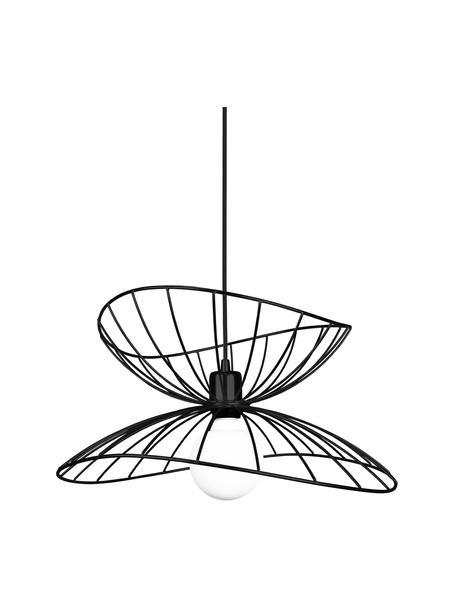 Lámpara de techo de diseño Ray, Pantalla: metal recubierto, Anclaje: metal, Cable: cubierto en tela, Negro, Ø 45 x Al 24 cm