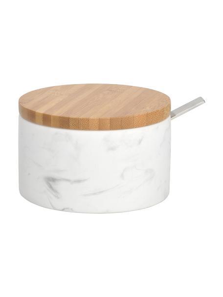 Zuccheriera in ceramica effetto marmo con cucchiaio Kalina, Coperchio: bambù, Cucchiaio: metallo, Bianco marmorizzato, bambù, Ø 13 x Alt. 7 cm