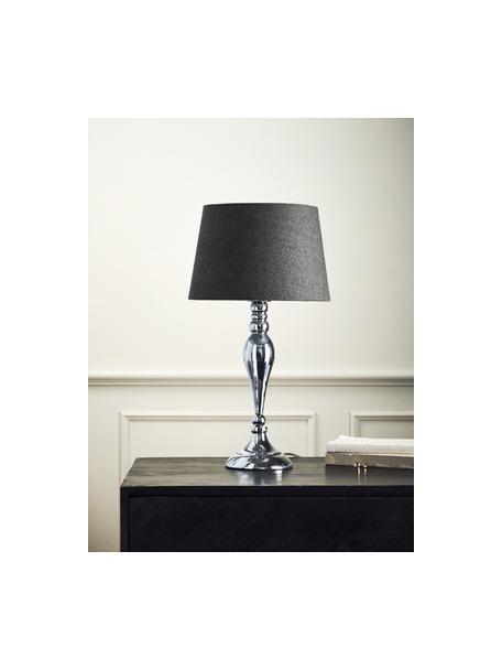 Lámpara de mesa grande Brighton, Pantalla: algodón, Cable: plástico, Gris, cromo, Ø 25 x Al 52 cm