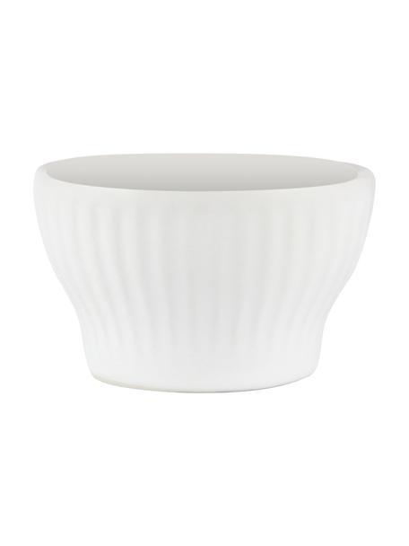 Weiße Eierbecher Groove mit Rillenstruktur, 4 Stück, Steingut, Weiß, Ø 6 x H 4 cm