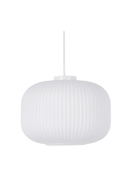 Pendelleuchte Milford aus Opalglas, Lampenschirm: Opalglas, Baldachin: Kunststoff, Weiß, Ø 30 x H 28 cm