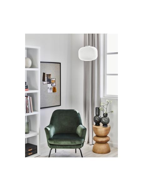 Lámpara de techo de vidrio opalino Mildford, Pantalla: vidrio opalino, Anclaje: plástico, Cable: cubierto en tela, Blanco, Ø 30 x Al 28 cm