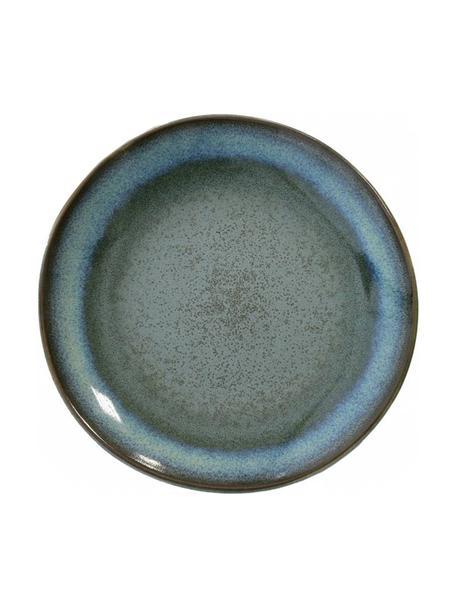 Set van 2 handbeschilderde  taartplaten 70's in retro stijl, Keramiek, Blauwtinten, groentinten, Ø 18 cm