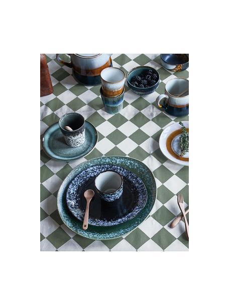 Handgemachte Kuchenteller 70's im Retro Style, 2 Stück, Steingut, Blautöne, Grüntöne, Ø 18 cm