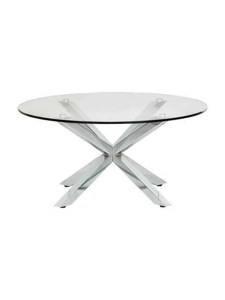 Runder Couchtisch Emilie mit Glasplatte, Tischplatte: Sicherheitsglas, Transparent, Chrom, Ø 82 x H 40 cm