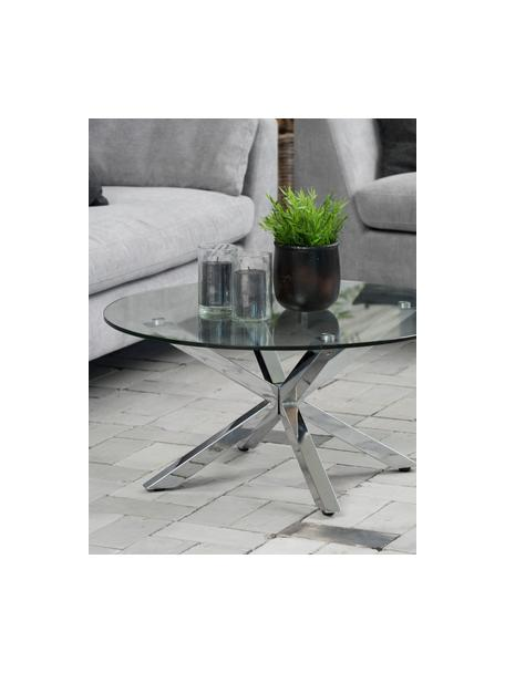 Metalen salontafel Emilie met glazen tafelblad, Tafelblad: glas, Transparant, chroomkleurig, Ø 82 x H 40 cm