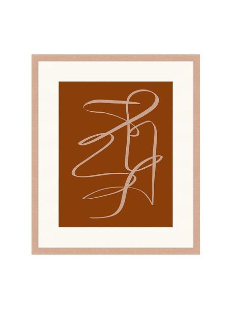Gerahmter Digitaldruck Terracota Drawing, Bild: Digitaldruck auf Papier, , Rahmen: Holz, lackiert, Front: Plexiglas, Braun, Dunkelbeige, 53 x 63 cm