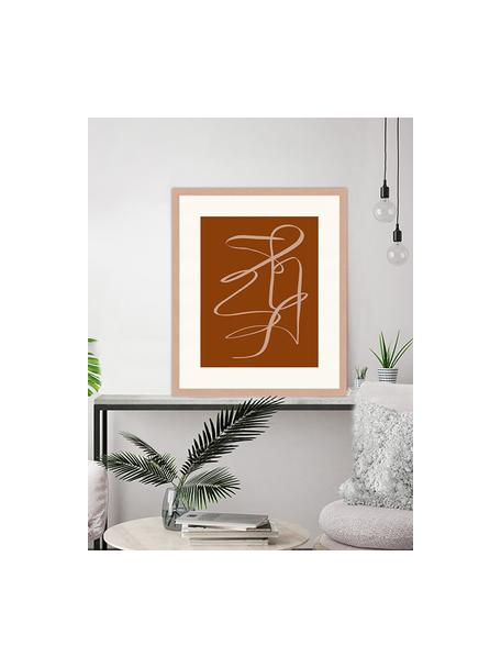 Ingelijste digitale print Terracota Drawing, Afbeelding: digitale print op papier,, Lijst: gelakt hout, Bruin, donkerbeige, 53 x 63 cm