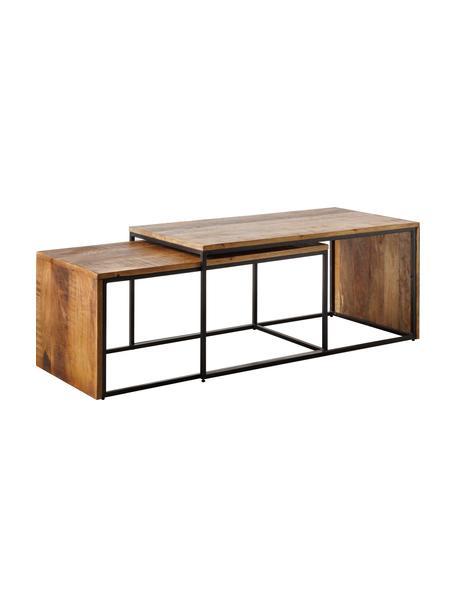 Set 2 tavolini da salotto in legno di mango con struttura in metallo Carol, Struttura: metallo laccato, Marrone, nero, Set in varie misure