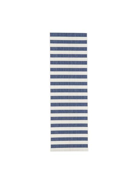 Gestreifter In- & Outdoor-Läufer Axa in Blau/Cremeweiß, 86% Polypropylen, 14% Polyester, Cremeweiß, Blau, 80 x 250 cm