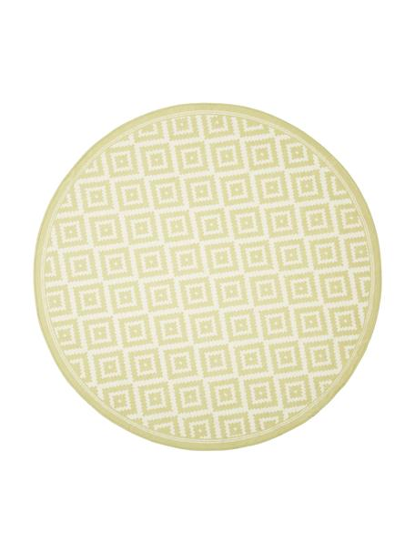Alfombra rendonda de interior/exterior Miami, 86%polipropileno, 14%poliéster, Blanco, amarillo, Ø 140 cm (Tamaño M)