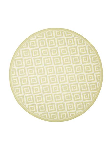 Rond in- en outdoor vloerkleed met patroon Miami in geel/wit, 86% polypropyleen, 14% polyester, Wit, geel, Ø 140 cm (maat M)