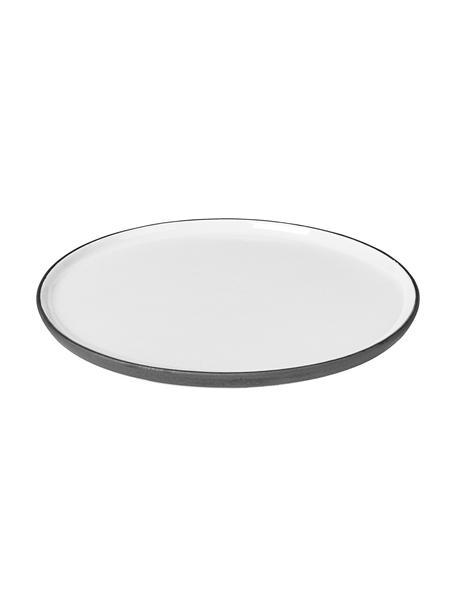 Handgemachter Frühstücksteller Esrum matt/glänzend, 4 Stück, Unten: Steingut, naturbelassen, Elfenbeinfarben, Graubraun, Ø 21 cm