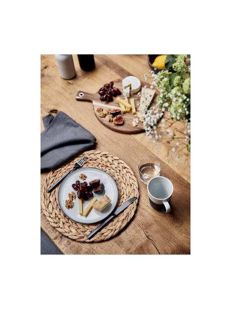 Piattino da dessert opaco/lucido fatto a mano Esrum 4 pz, Sotto: gres naturale, Color avorio, grigio-marrone, Ø 21 cm