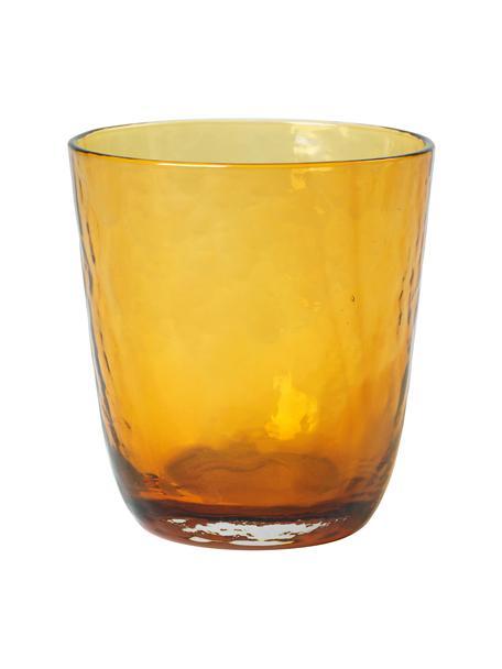 Szklanka do wody z dmuchanego szkła Hammered, 4 szt., Szkło, Odcienie bursztynowego, Ø 9 x W 10 cm
