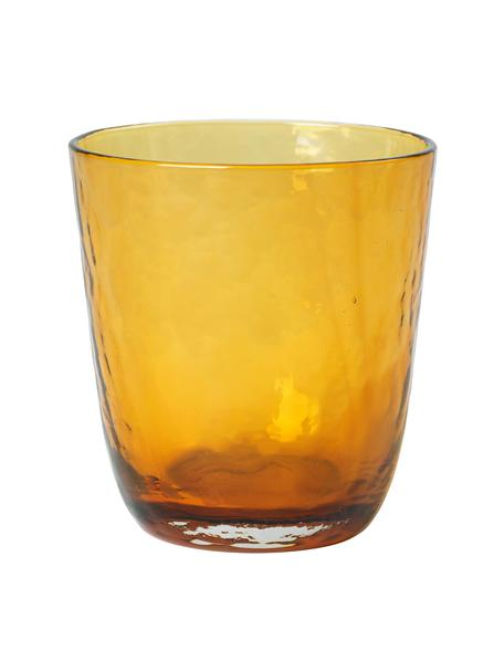 Szklanka z dmuchanego szkła Hammered, 4 szt., Szkło, Odcienie bursztynowego, Ø 9 x W 10 cm
