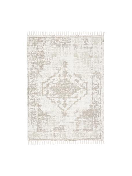 Handgewebter Baumwollteppich Jasmine in Beige/Taupe im Vintage-Style, Beige, B 120 x L 180 cm (Größe S)