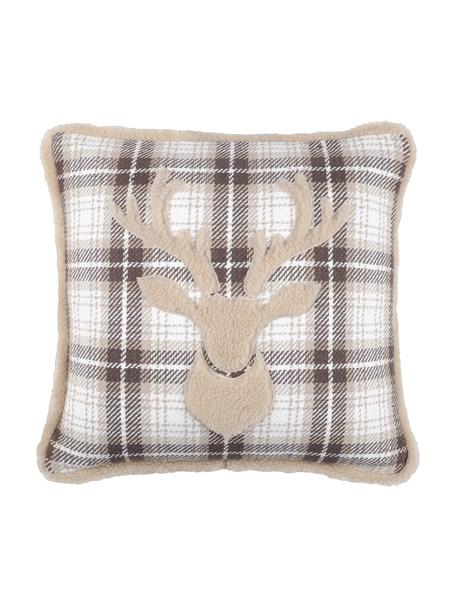 Poduszka z wypełnieniem Timber, Tapicerka: 50% bawełna, 32% wełna, 7, Szary, biały, beżowy, S 40 x D 40 cm