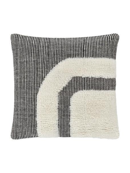 Funda de cojín artesanal Laine, Parte superior: 90%lana, 10%algodón, Parte trasera: 100%algodón, Negro, An 45 x L 45 cm