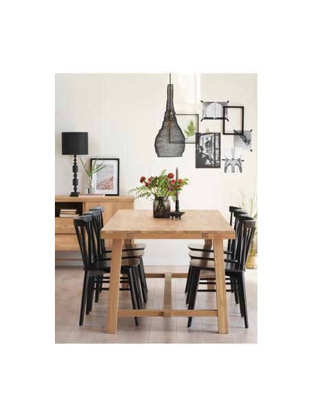 Verlängerbarer Massivholz Esstisch Brooklyn aus Eiche, Massives Eichenholz, klar lackiert, Eichenholz, B 220 bis 270 x T 95 cm
