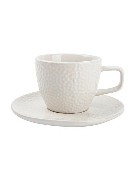 Espresso kopjes Mielo met schoteltjes en gestructureerde oppervlak, 4-delig, Keramiek, Wit, Ø 12 x H 7 cm