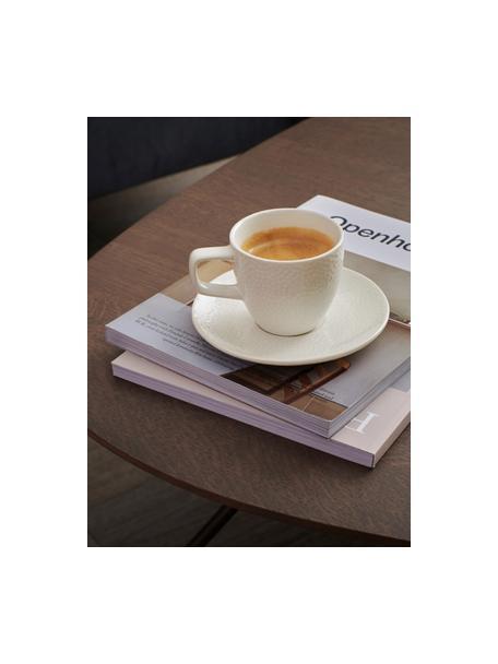 Espressotassen Mielo mit Untertassen und strukturierter Oberfläche, 4er-Set, Steingut, Weiß, Ø 12 x H 7 cm