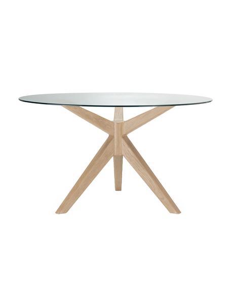 Mesa de comedor redonda Malmo, Patas: madera de roble, Tablero: vidrio templado, Beige, transparente, Ø 135 x Al  cm