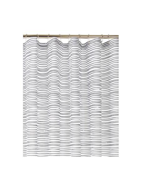 Douchegordijn Ystad, 100% polyester Waterafstotend, niet waterdicht, Wit, zwart, 180 x 200 cm