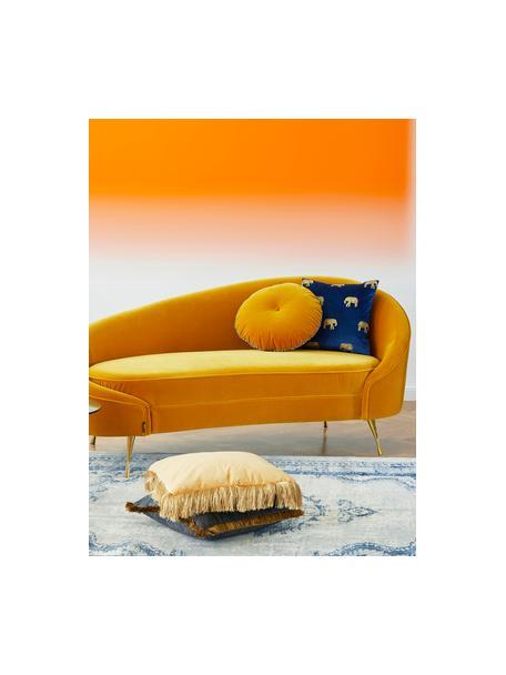 Divano 2 posti di design in velluto giallo I Am Not A Croissant, Rivestimento: velluto di poliestere 30 , Piedini: acciaio inossidabile, riv, Struttura: compensato, Velluto giallo ocra, Larg. 168 x Alt. 76 cm