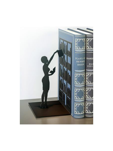 Sujetalibros The Library, Metal pintado, Negro, An 10 x Al 17 cm