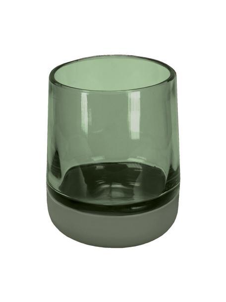 Zahnputzbecher Belly aus Glas, Becher: Glas, Grün, Ø 9 x H 11 cm