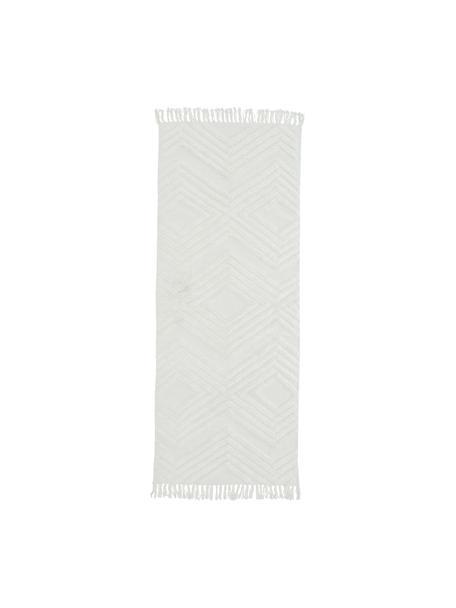 Handgeweven katoenen loper Carito met verhoogd hoog-laag patroon, 100% katoen, Crèmekleurig, 80 x 200 cm