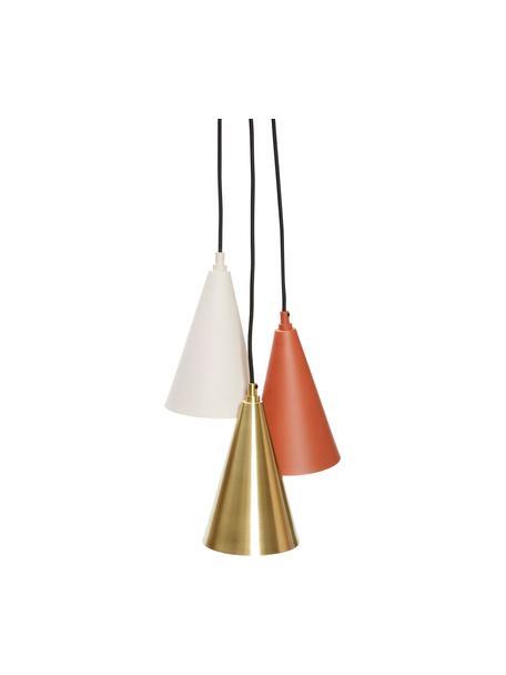 Mała lampa wisząca z metalu Tonte, Brązowy, beżowy, odcienie mosiądzu, Ø 14 x W 23 cm