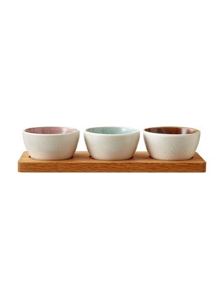 Set de cuencos con bandeja de madera Bizz, 4pzas., Cuencos: gres, Bandeja: madera, Beige claro, marrón, An 33 x F 11 cm