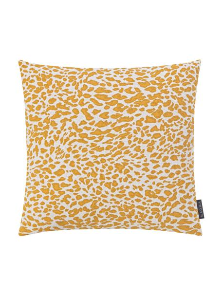Funda de cojín Leopardo, Parte delantera: 59%algodón, 41%poliéste, Mostaza, blanco, An 50 x L 50 cm