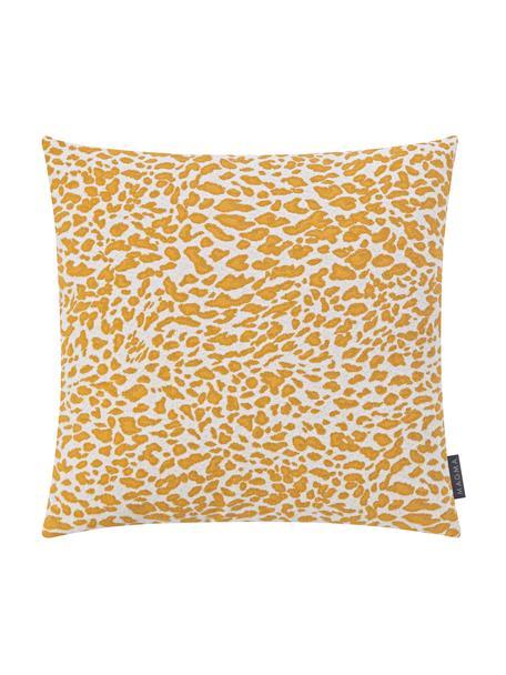Kussenhoes Sana met luipaard print in geel/wit, Weeftechniek: jacquard, Mosterdgeel, wit, 50 x 50 cm