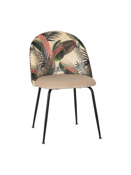 Silla tapizada Hojas, Tapizado: 100% poliéster, Estructura: madera, Patas: metal, Crema, multicolor, An 49 x F 50 cm