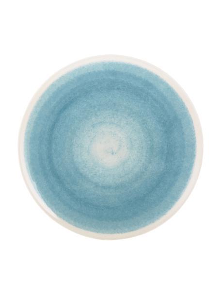 Ręcznie wykonany talerz duży Pure, 6 szt., Ceramika, Niebieski, biały, Ø 26 cm