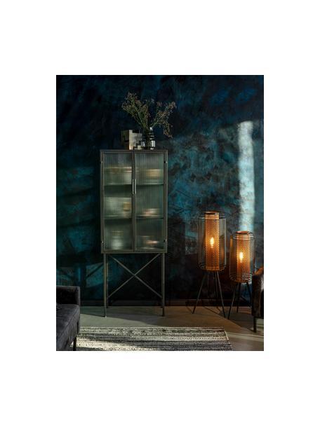 Schwarzer Vitrinenschrank Boli mit Rillenglas und Metallrahmen, Gestell: Metall, beschichtet, Front: Glas, Schwarz, Semi-Transparent, 70 x 178 cm