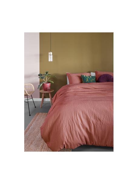 Seersucker-Bettwäsche Wave aus Baumwolle in Terrakotta, Webart: Seersucker Fadendichte 14, Altrosa, 135 x 200 cm + 1 Kissen 80 x 80 cm