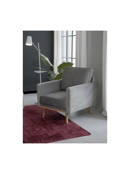 Fluwelen fauteuil Saint in grijs met eikenhouten poten, Bekleding: fluweel (polyester), Frame: massief eikenhout, spaanp, Fluweel grijs, B 85 x D 76 cm