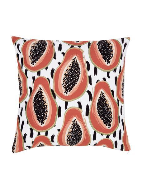 Kissenhülle Papaya mit tropischem Motiv, 100% Baumwolle, Weiß,Schwarz,Orange, 45 x 45 cm