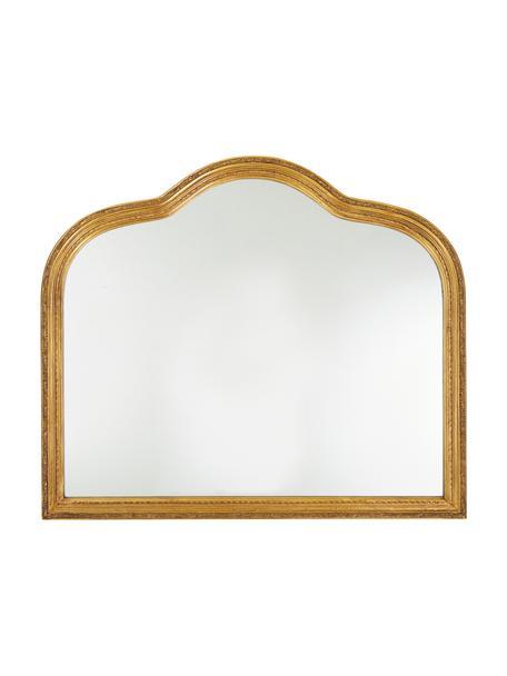 Specchio da parete con cornice in legno dorato Muriel, Struttura: legno massiccio ricoperto, Superficie dello specchio: vetro a specchio, Retro: metallo, pannello di fibr, Dorato, Larg. 90 x Alt. 77 cm