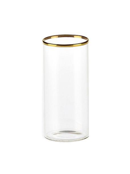 Vasos de vidrio borosilicato Boro, 6uds., Vidrio de borosilicato, Transparente, dorado, Ø 6 x Al 12 cm