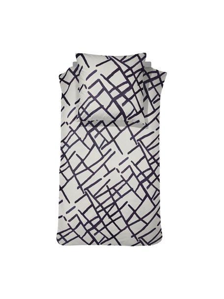 Gemusterte Baumwoll-Bettwäsche Kline, 100% Baumwolle  Fadendichte 145 TC, Standard Qualität  Bettwäsche aus Baumwolle fühlt sich auf der Haut angenehm weich an, nimmt Feuchtigkeit gut auf und eignet sich für Allergiker, Weiß, Schwarz, 135 x 200 cm + 1 Kissen 80 x 80 cm