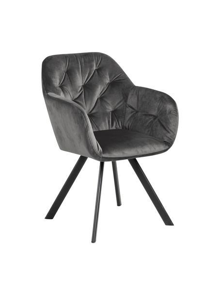 Krzesło obrotowe z aksamitu Lucie, Tapicerka: aksamit poliestrowy Dzięk, Nogi: metal malowany proszkowo, Aksamitny ciemny szary, S 58 x G 62 cm