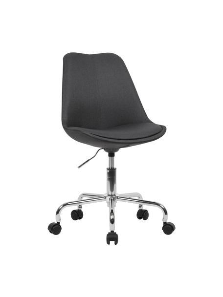 Biurowe krzesło obrotowe Lenka, Tapicerka: poliester, Stelaż: metal chromowany, Antracytowy, S 65 x G 56 cm