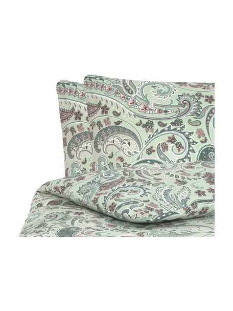 Baumwoll-Bettwäsche Liana in Grün mit Paisley-Muster, Webart: Renforcé Fadendichte 144 , Grün, Mehrfarbig, 200 x 200 cm + 2 Kissen 80 x 80 cm